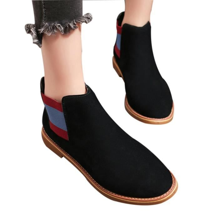 Mode Bout Martin Bottes Rond À Femmes Med Rayé Gros Talon Oppapps7369 Chaussures OZx5aqnv7w