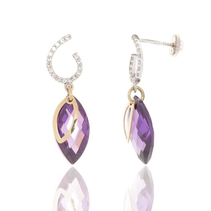 Boucles Doreilles Or Gris Oxyde Briolette Violet Bicolore