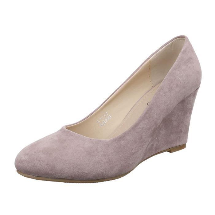 Femme escarpin chaussure semelle à talon compensé sandalette Wedges Gris Marron