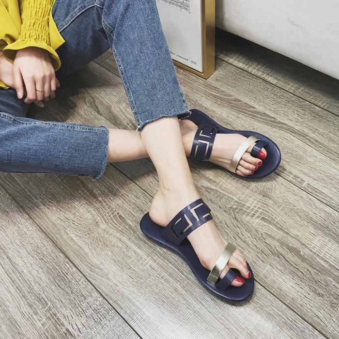 Plates Flops Flip Femmes Toe Casual Fashion t Clip Blue Creux Sandales Sexy OcnRT
