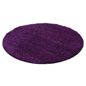 Tapis shaggy rond violet - Achat / Vente pas cher