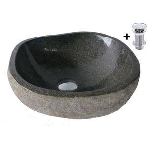 LAVABO - VASQUE vasque en pierre 35 à 40cm + 1 bonde