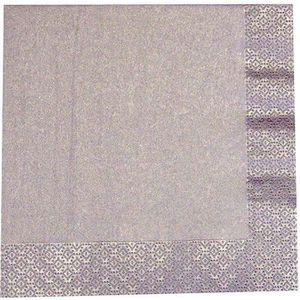 SERVIETTE DE TABLE 20 serviettes 3 plis papier métallisé argent 33 cm