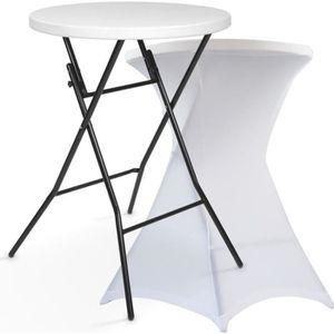 MANGE-DEBOUT Table haute de bar pliante et housse blanche