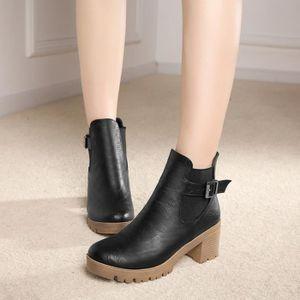 martin boots-Pure Color Haut Talonpais des femmes avec une fermetureclair bande lat rale Bottes Eco8ee