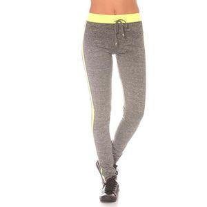 dmarkevous - Bas de Jogging femme Jaune fluo et gris avec bande noir sur  côté et tour de taille - (XXL - jaune) c635c16620c