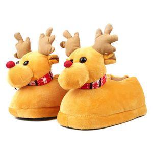 Pantoufles Femmes Hommes en peluche Hiver Cerf de Noël Adulte Chaussons doux et chauds Populaire BCHT-XZ140Marron35 Ba8ObO