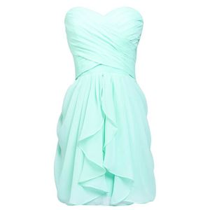 ROBE Women's A-line Ruched Chiffon Short Prom Party Dre