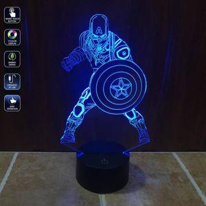 VEILLEUSE 3D LED Captain America 7 couleurs changeantes USB