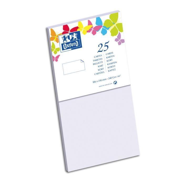 OXFORD 25 Cartes - 21 cm x 10,6 cm x 0,7 cm - 240g - Parme
