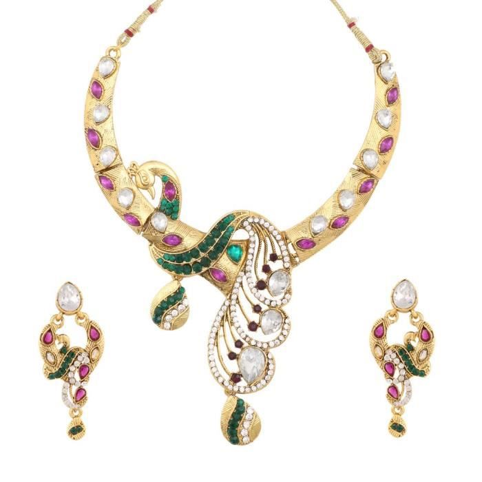 Womens Bridal Peacock Purple Green Metal Alloy Jewellery Set With Necklace And Earring ForAWDWT
