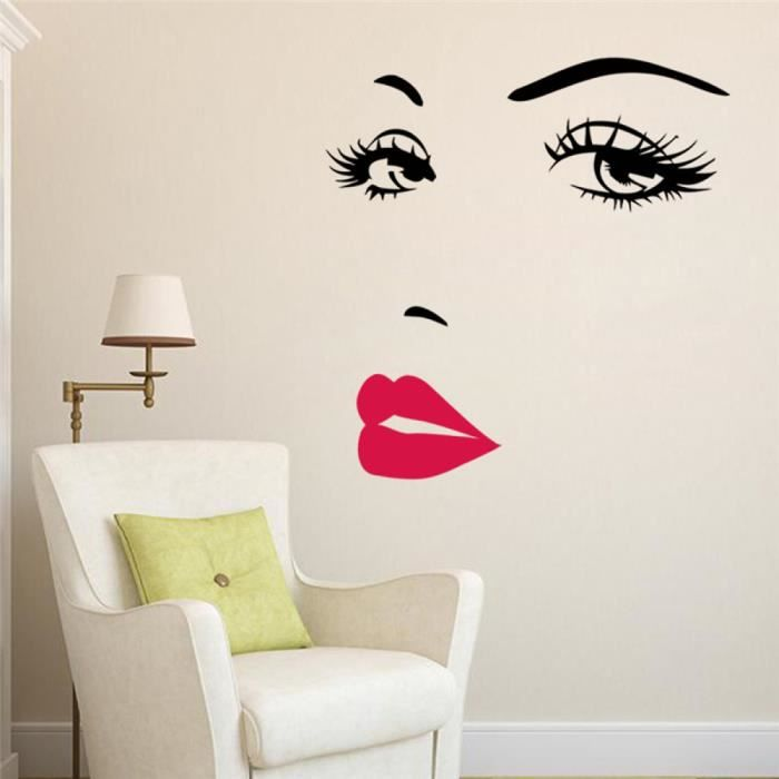 fille sexy l vres yeux stickers muraux salon chambre d coration 8469 vinyle s maisonstickers. Black Bedroom Furniture Sets. Home Design Ideas