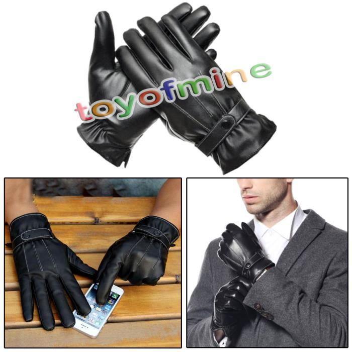 gants homme en faux cuir noir hiver chaud achat vente gant mitaine 2009900990099 soldes. Black Bedroom Furniture Sets. Home Design Ideas