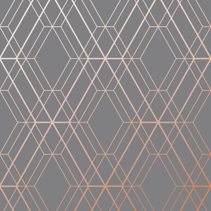 Papier peint géométrique Metro Diamond - Charbon de bois et cuivre ...