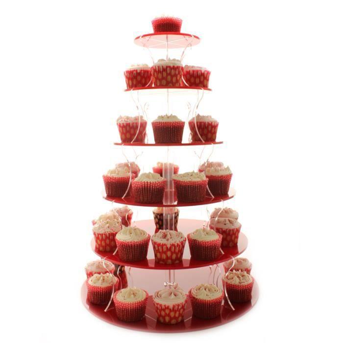 présentoir à cupcakes 6 étages rouge support à gâteau de mariage