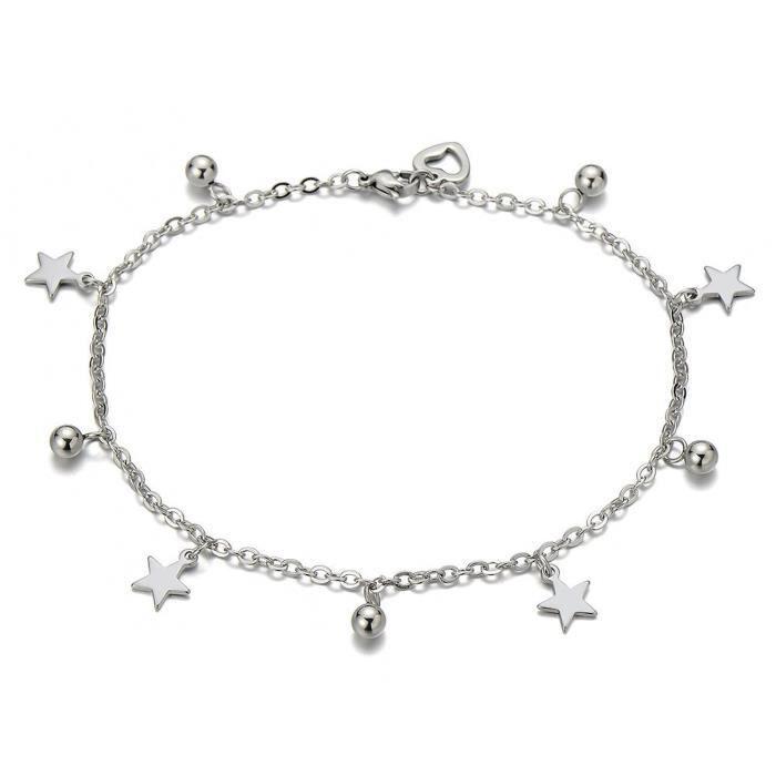 Acier Inoxydable Femme Bracelets De Cheville Avec Etoile Charms