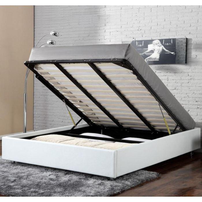 Lit Coffre Clever Blanc 160x200 Achat Vente Structure De Lit Lit