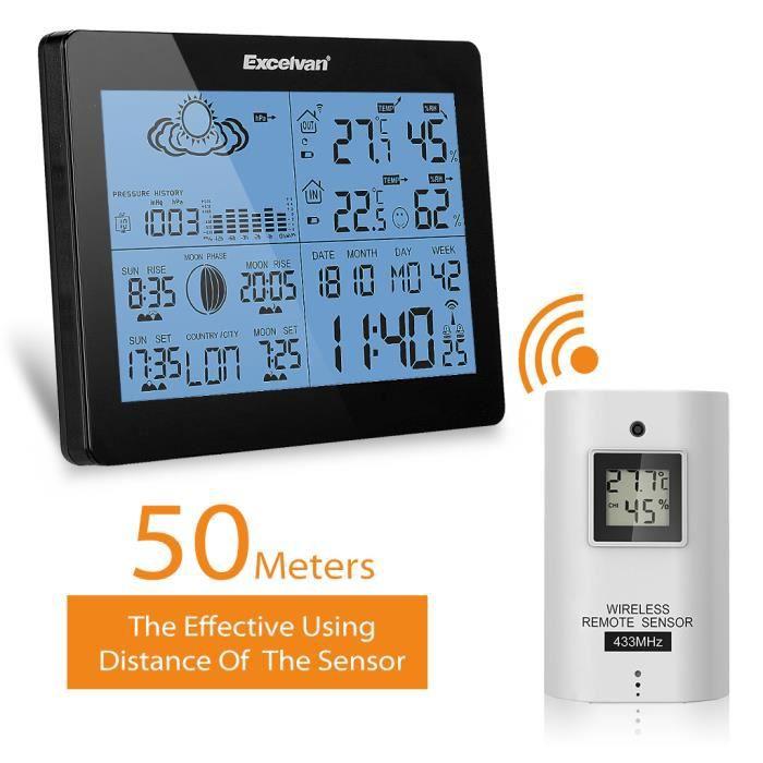 EXCELVAN Station Météo Intérieur Extérieur Sans Fil avec Capteur  Thermomètre Hygromètre Horloge Spécialisée Écran LCD Digital - Noir 0d783de25119