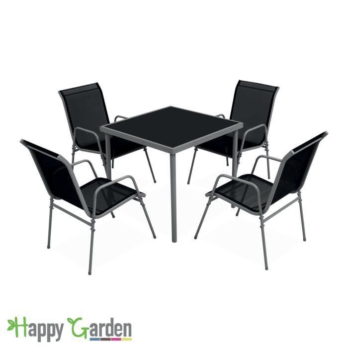 Salon de jardin BALI en textilène noir 4 places - structure grise ...
