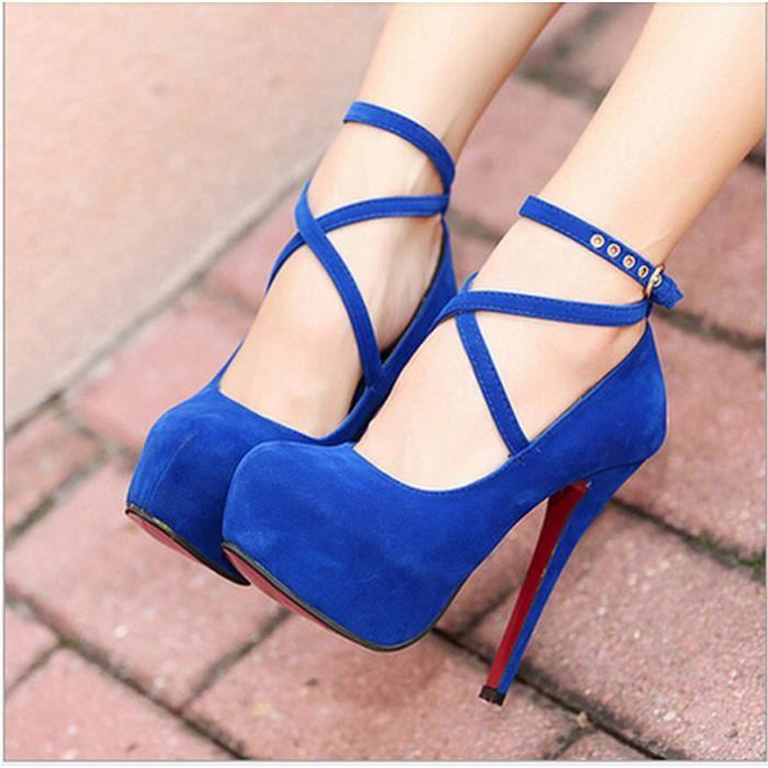 Nouvelles chaussures à talons hauts Femmes Pompes Chaussures de mariage Plate-forme Mode femme Chaussures rouges d… tpC5ZXkV1