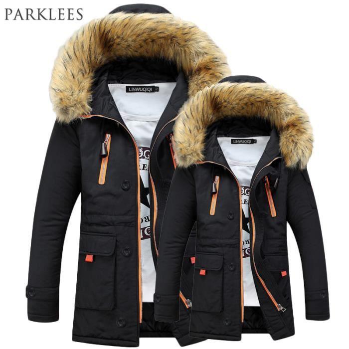 parka homme a fourrure capuche hiver marque luxe longue doudoune manteau homme noir noir achat. Black Bedroom Furniture Sets. Home Design Ideas