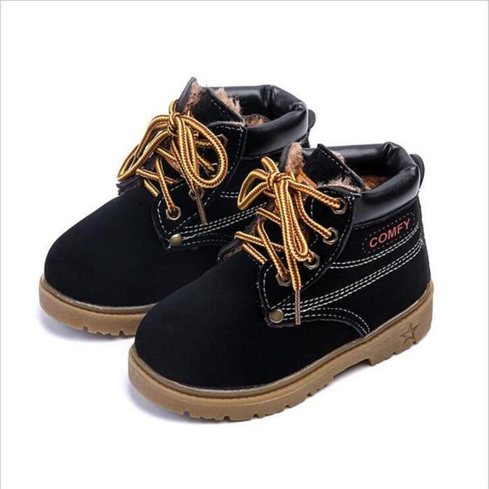 Bottes Enfant Hiver Qualité Supérieure Peluche Enfant Chaussures Plus Velours Chaud Martin Bottes Chaussures Casual Mode Nqs5Ja