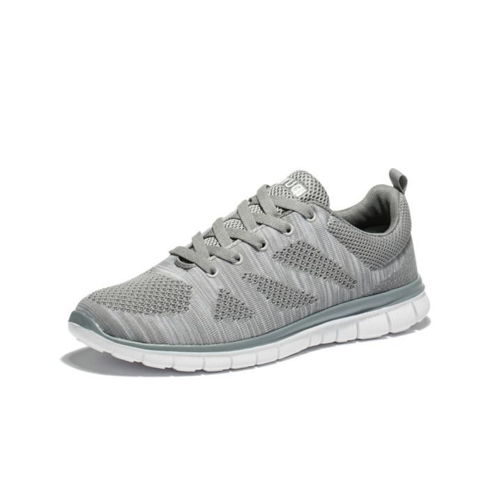 Chaussure de filet pour hommes mode Chaussures de sport de course Poids Léger baskets homme de marque Moccasin dssx265gris47