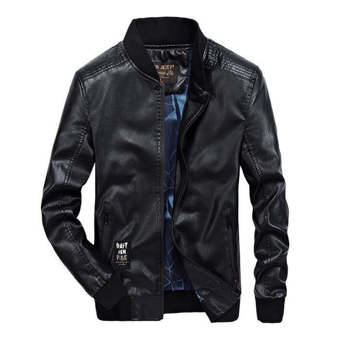 b828726ad420 Blouson En Cuir Homme Rétro Classique Automne Hiver Manteaux Veste Manteaux  Biker Moto Blousons Mens PU Leather Jackets