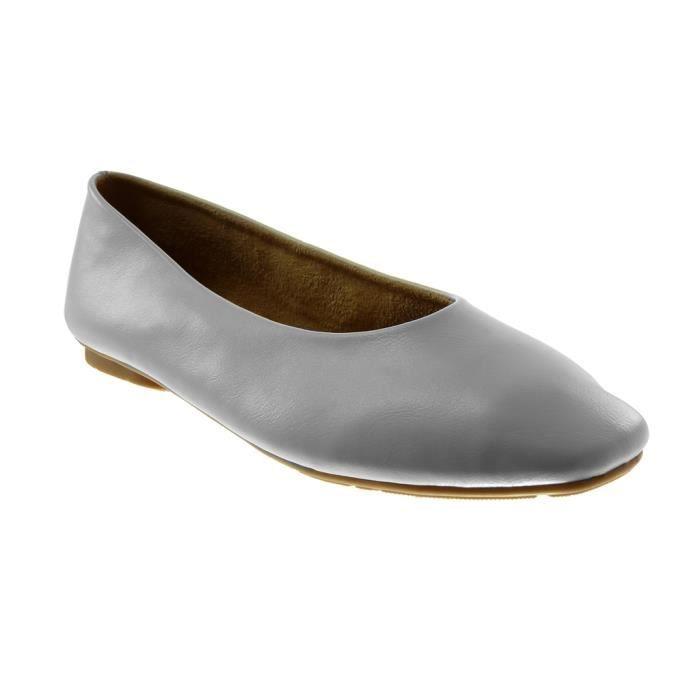 Angkorly - Chaussure Mode Ballerine slip-on souple femme Talon plat 1 CM - Intérieur Légèrement Fourrée - Blanc - XH1033 T 39