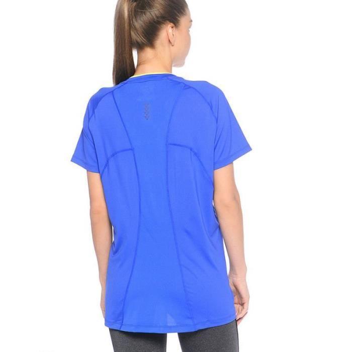 plus récent db2f5 024ba Race V-Neck Femme Tee-Shirt Running Bleu Asics