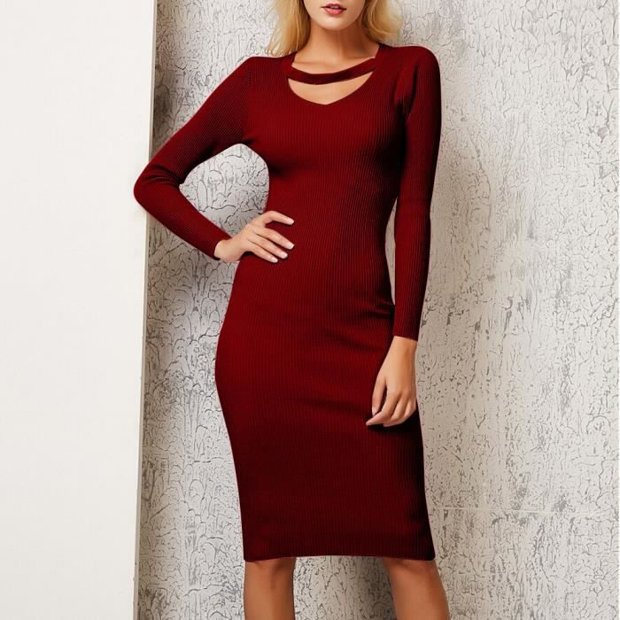 76b36aaaeed Femmes Robe d hiver sexy Pull à manches longues en tricot solide Pull Robe  Vin  rouge