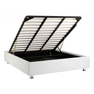 cadre de lit blanc 160x200 achat vente cadre de lit blanc 160x200 pas cher cdiscount. Black Bedroom Furniture Sets. Home Design Ideas