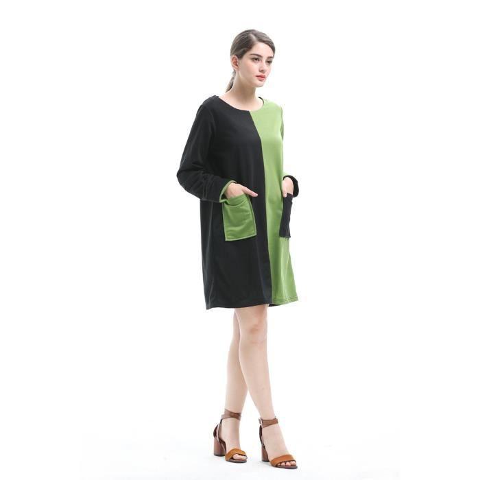 Robe Femme Mode Couleur unie Cou rond Couleur dépissage Décoration de poche Manches longues