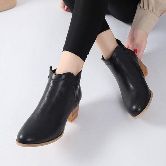 Femme Bottes Épais Bas Vintage Chaussures Cheville Frandmuke10113 Talon Botte Courte Bottines Mode vw7qn