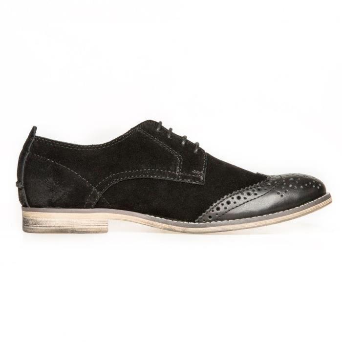 Oxford classique richelieu lacées Bovine Anti Suede Doublure en cuir perforé de bout d'aile Robe Oxfords Chaussures YFS18 Taille-40 PahKJ8xj