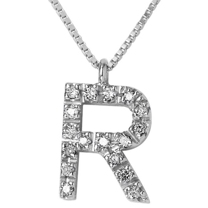 DIAMOND LANE Collier Lettre R Or Blanc 750°et Diamants Femme