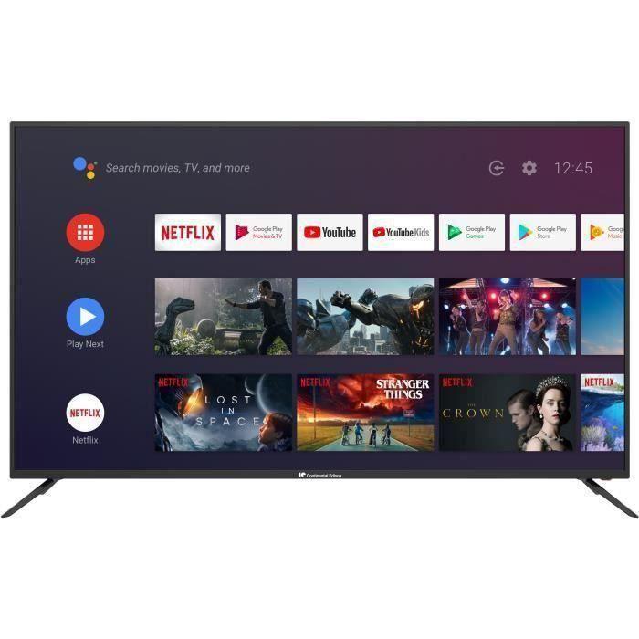 Plus de détails Continental Edison Smart Android TV 65' (163,8 cm)'4K UHD HDR Wi-fi Bluetooth Google Assistant Téléc