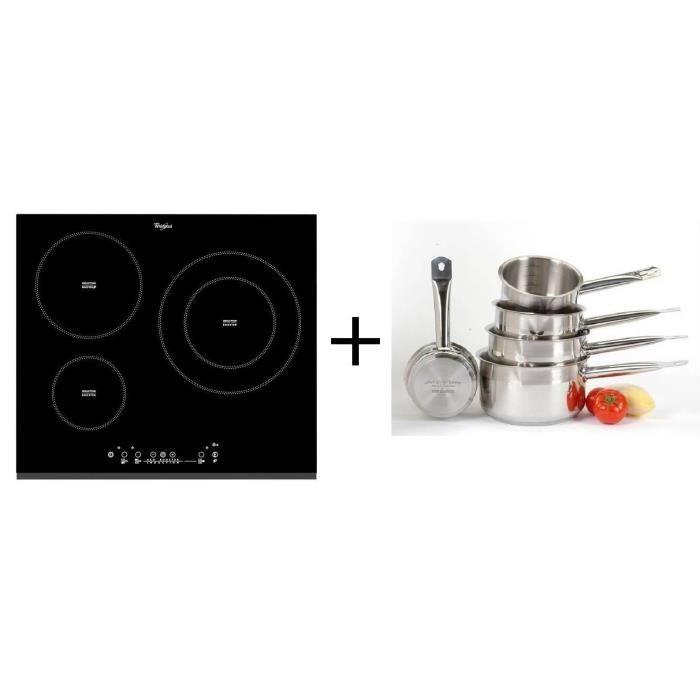 Pack cuisson Whirlpool ACM860BF-Table de cuisson induction-3 zones-7000 W-L58 x P51 cm + ART&CUISINE Set 5 pièces tous feux