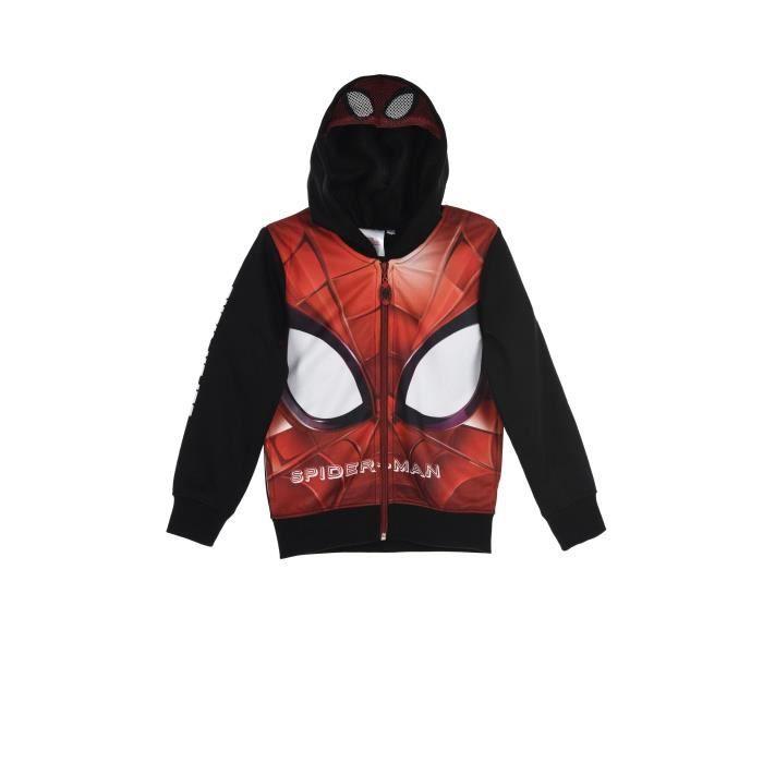 SPIDERMAN Sweat à capuche noir et rouge enfant garçon