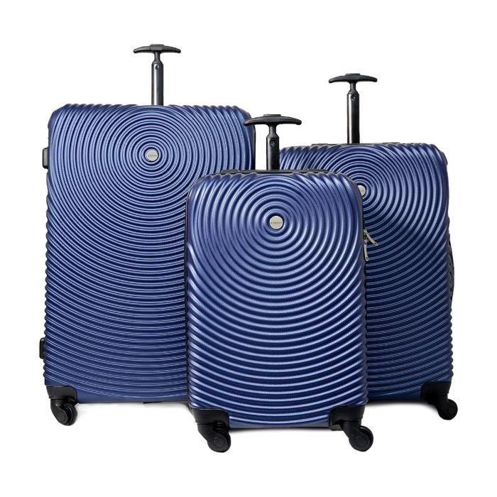 KINSTON Set de 3 valises rigides Seattle - Coque ABS - Motif 3D - 4 roues multidirectionnelles - Bleu