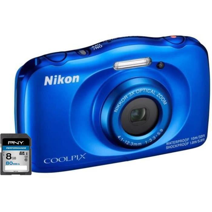 NIKON COOLPIX W100 Appareil photo numérique compact bleu - 13,2 mégapixels - Vidéo Full HD + Carte mémoire SDHC 8 Go