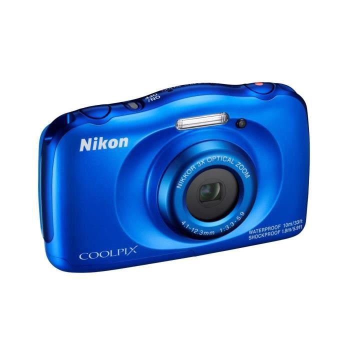 NIKON COOLPIX W100 - Appareil photo numérique compact - Résolution de 13,2Mp - Vidéo Full HD - Etanche jusqu'à 10m -  Bleu
