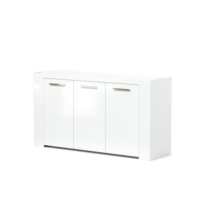 Panneaux de particules - Blanc brillant - L 144 x P 42 x H 80 cm - 3 portes - Fabrication européenneBUFFET - BAHUT - ENFILADE