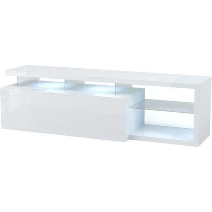 Panneaux de particules blancs - L 150 x P 41 x H 43 cm - 1 tiroir, tablettes en verre avec LEDMEUBLE TV - MEUBLE HI-FI