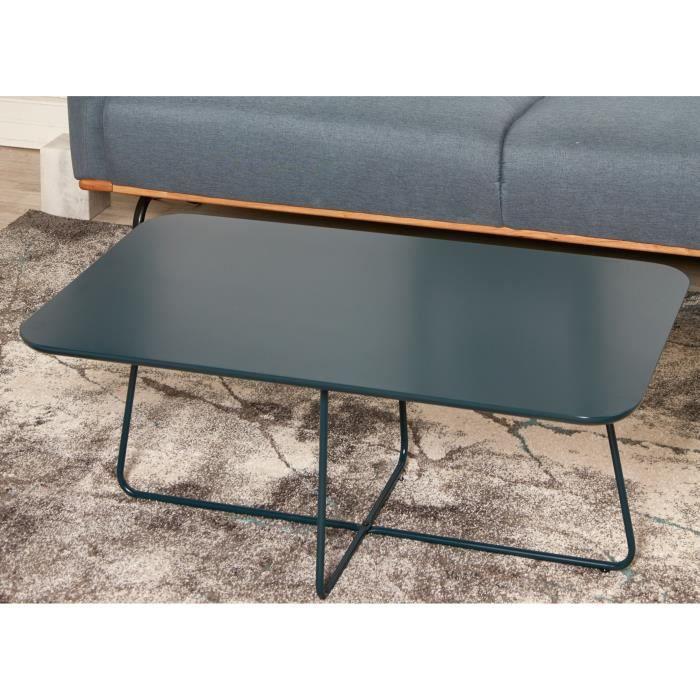 FEDERIKA Table basse style contemporain bleu brillant avec pieds en métal - L 100 x l 58 cm