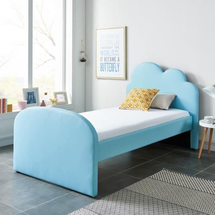 MDF et contreplaqué revêtement simili bleu - l 90 x L 190 x H 110 cm - Sommier à lattes et tête de lit inclusSTRUCTURE DE LIT