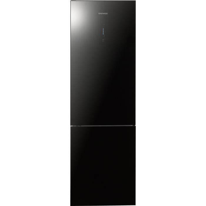DAEWOO RN-T550CB - Réfrigérateur combiné - 362 L (270L + 92L) - Froid no frost - A+ - L 59,5 x H 200 cm - Noir miroir