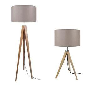 IDUN Lampadaire + lampe ? poser trépied bois massif naturel style scandinave - Abat-jour cylindrique en coton taupe