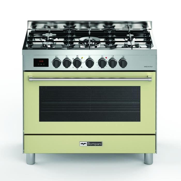 BOMPANI BTECH90CR Piano de cuisson gaz - 5 foyers - Four électrique - Catalyse - Crème