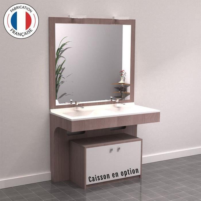 ALTEA Ensemble meuble de salle de bain double vasque avec LED et miroir L 120 cm - Décor coimbra souris